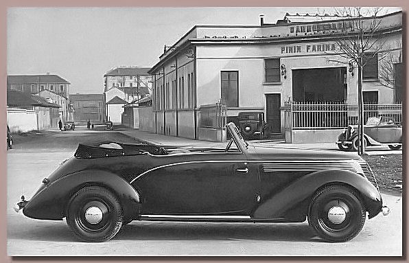 The 1939 Fiat 1500 Cabriolet outside Pinin Farina's first factory at 107, Corso Trapini, Turin