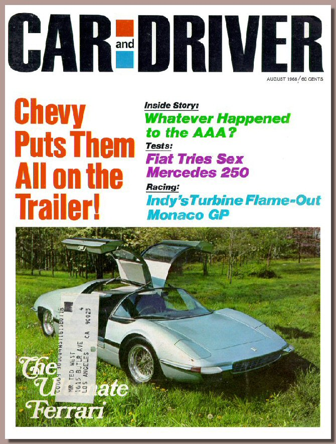 Cover magazine Car & Driver, August 1968