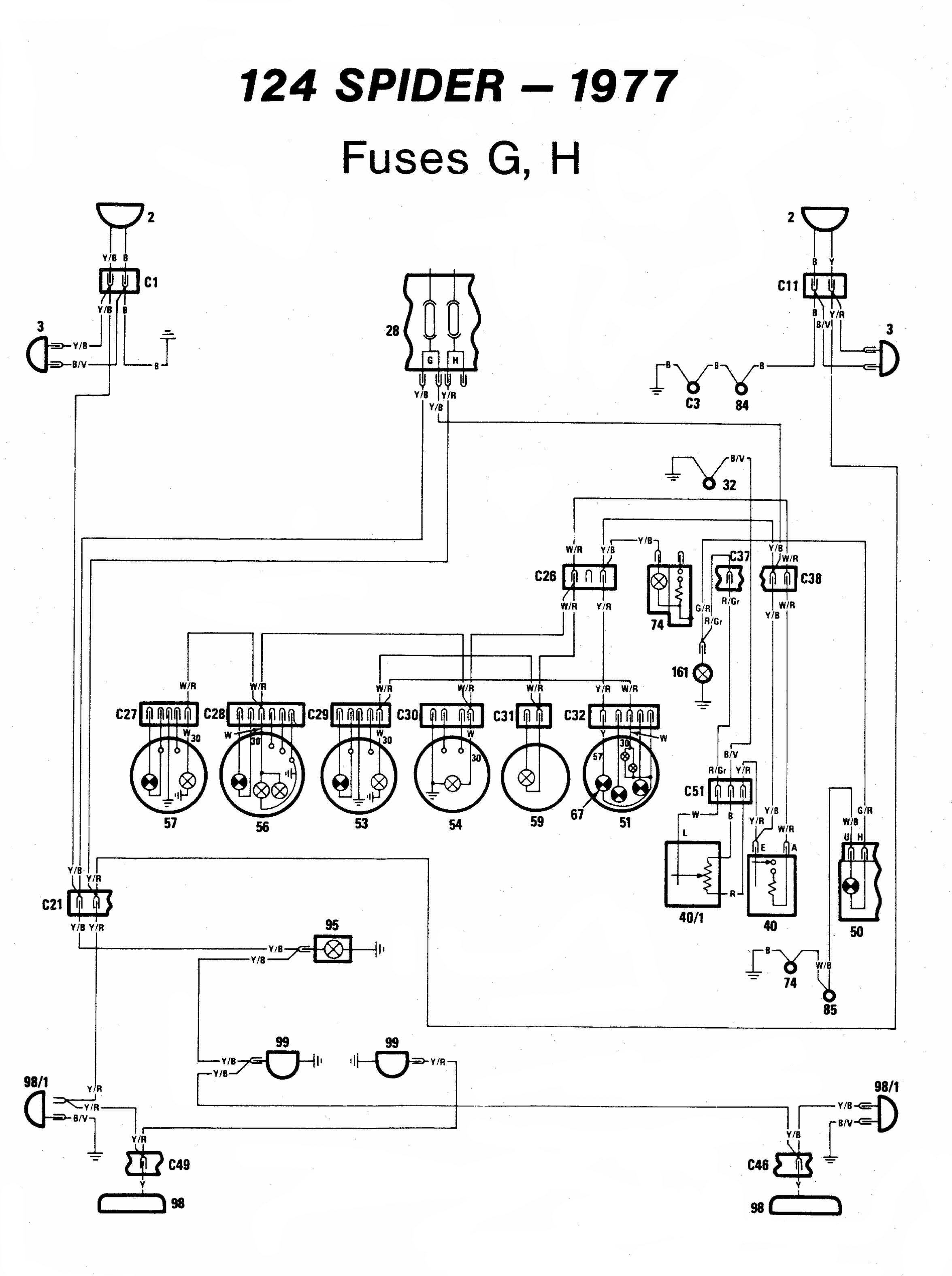 Fiat 124 Spider - electrical schemes  Fiat Spider Ignition Wiring Diagrams on fiat 124 wiring diagram, 1979 fiat spider fuses diagram, 1980 fiat spider ignition diagram,