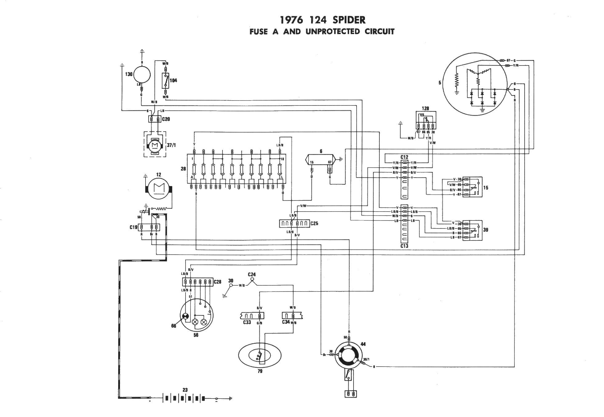 fiat 124 spider spidersweb nl on repeated request electrical rh fiat124spider com Porsche 914 Wiring-Diagram 1990 Miata Wiring Harness Diagram