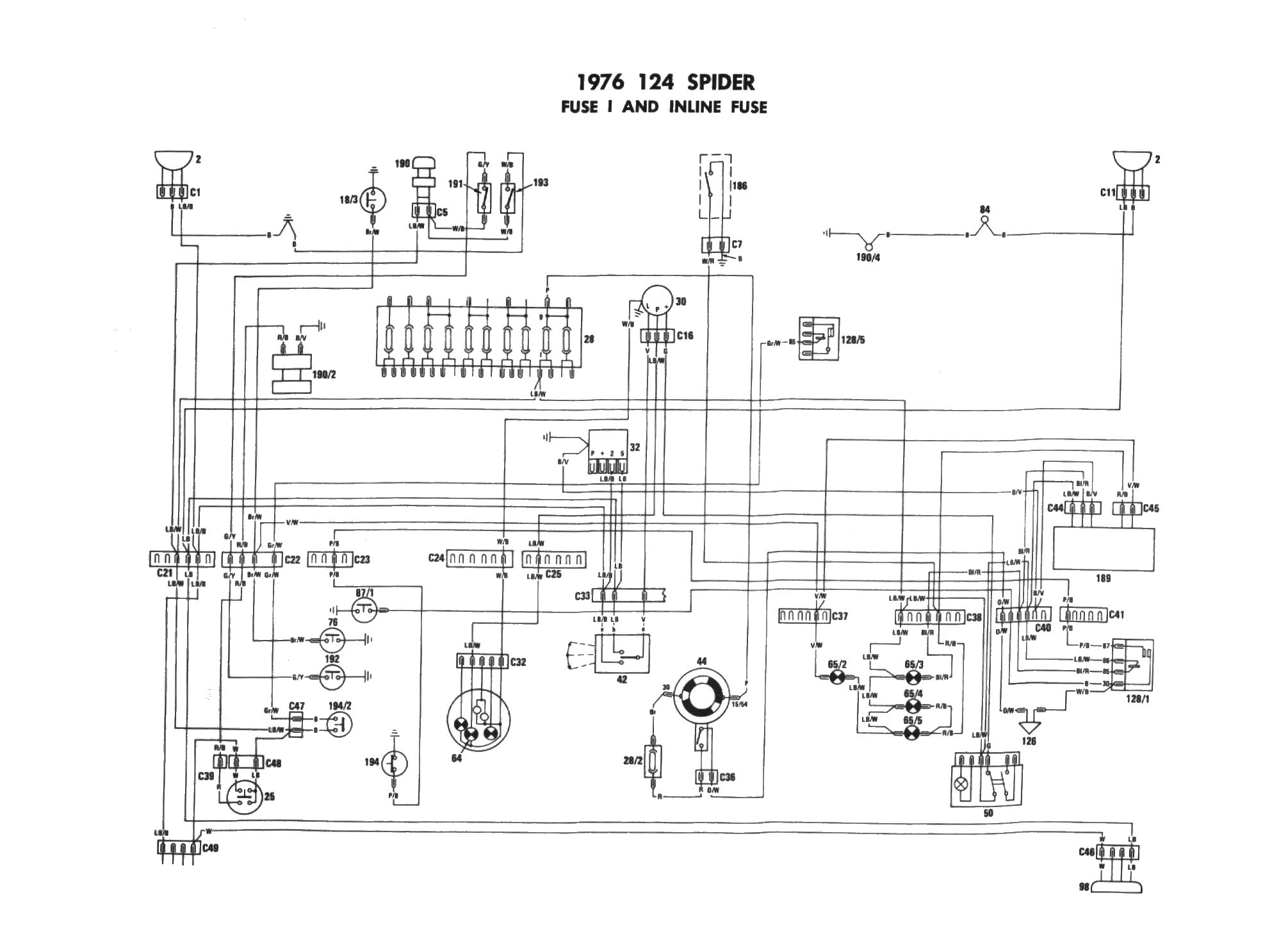 Fiat 124 Wiring Diagram Schematic on sunbeam tiger fuel pump