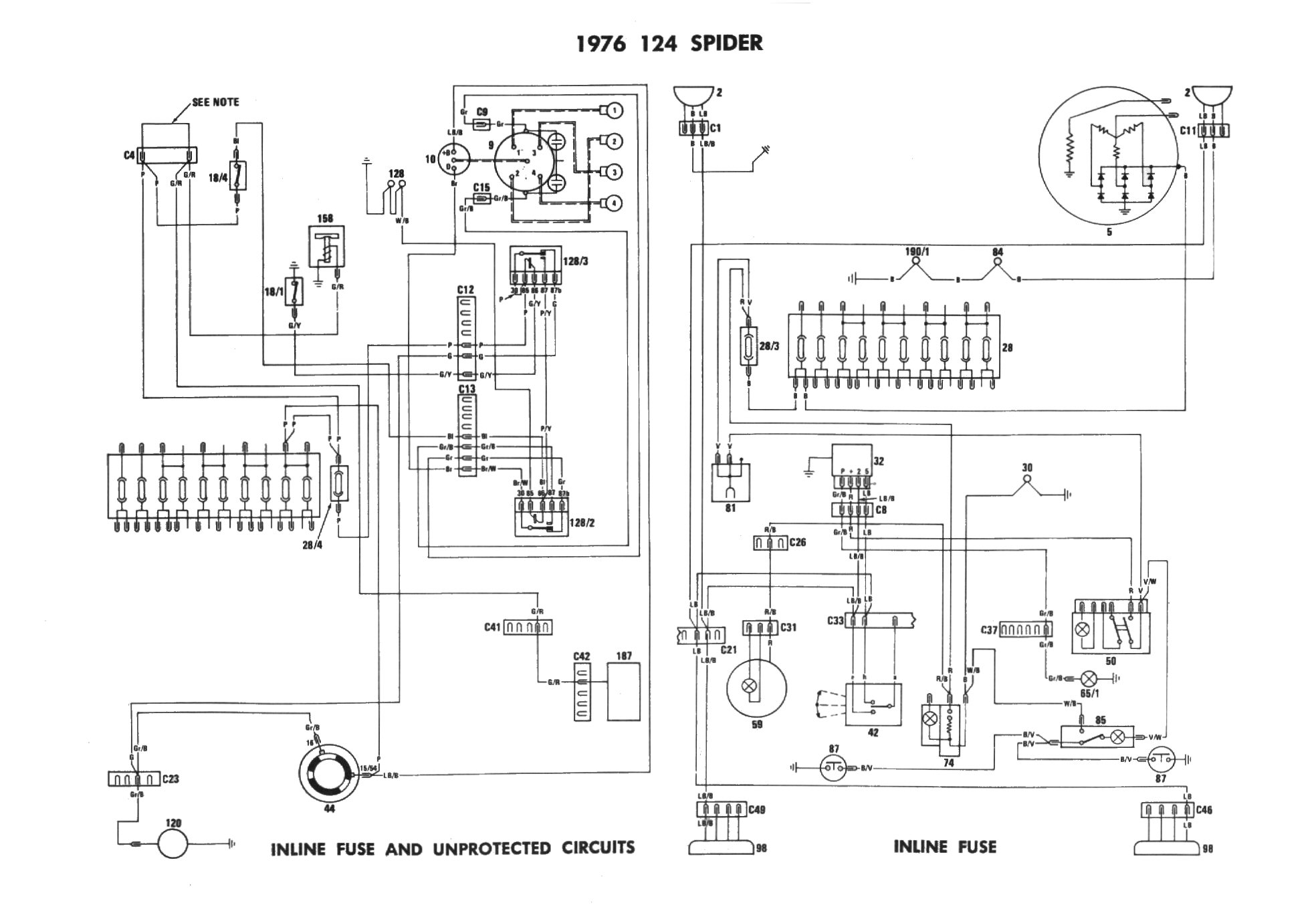 7 fiat 124 spider electrical schemes 1977 fiat spider wiring diagram at eliteediting.co