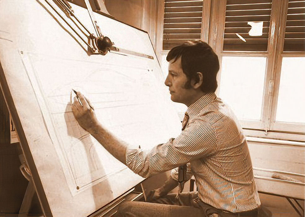 Tom at the drawing board